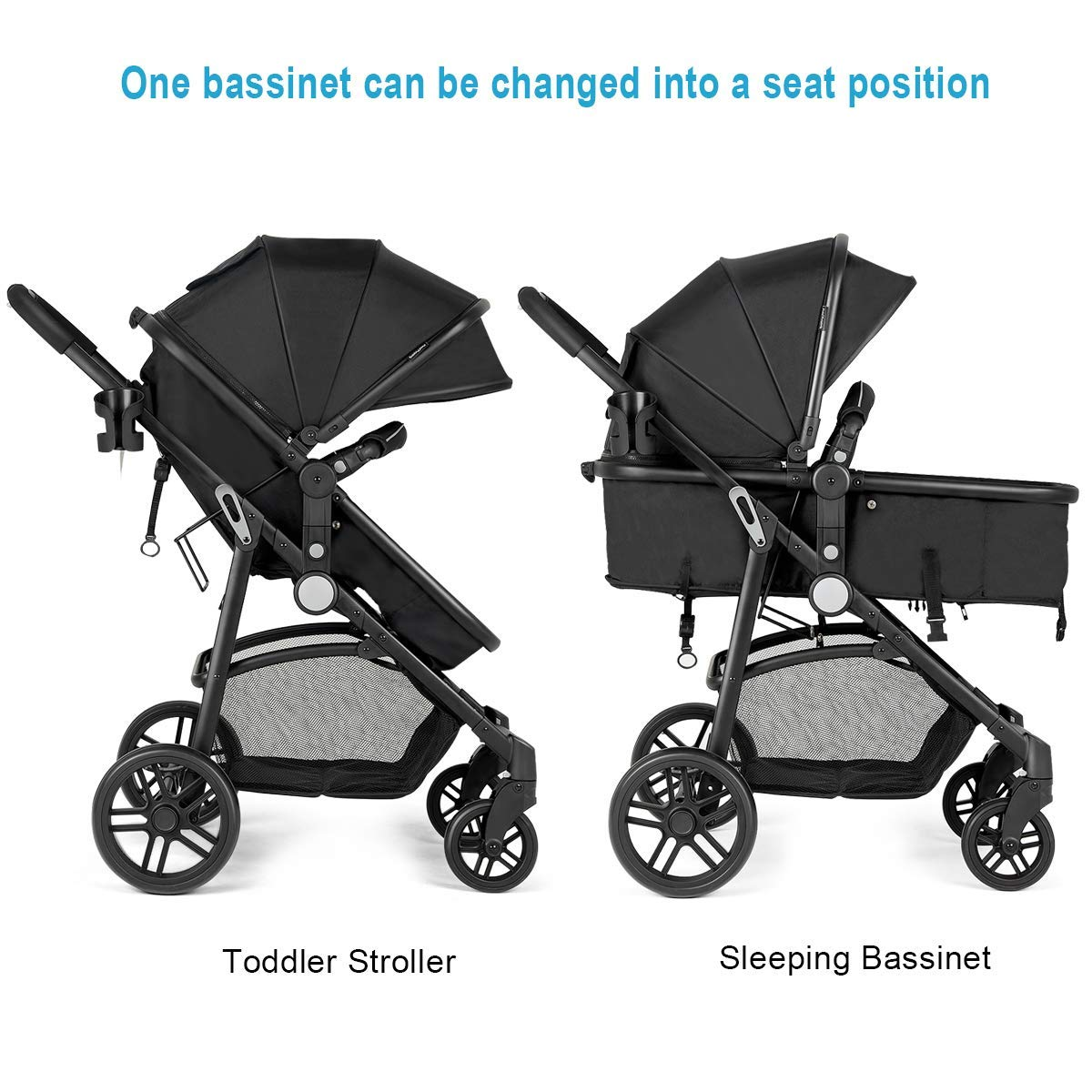 Costzon Baby Stroller, 2 in 1 Convertible Carriage Bassinet to Stroller, Pushchair with Foot Cover, Cup Holder, Large Storage Space, Wheels Suspension, 5-Point Harness Deluxe Black