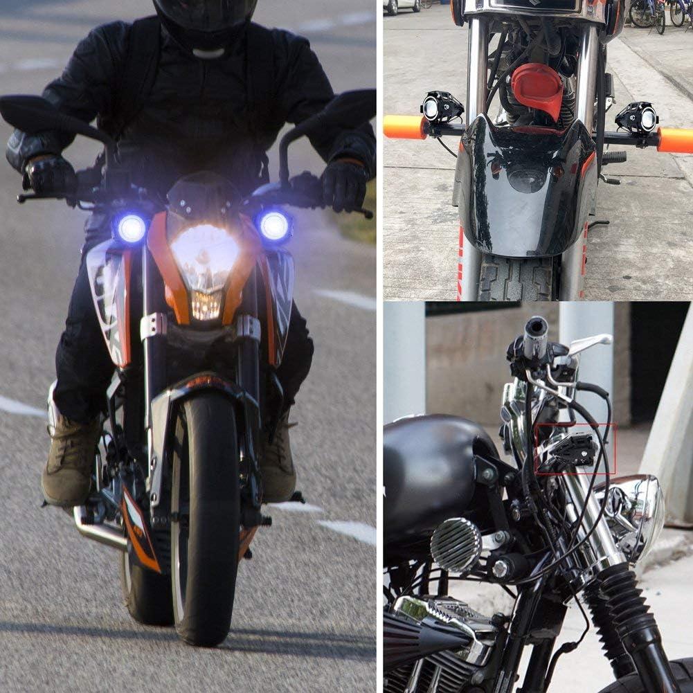 CREE U7 Faretti LED Moto,Biqing 2Pcs Fari Moto LED Faretto Anteriore 12V 24V LED Spotlight Faro Supplementare Motocicletta Lampada Antinebbia 6000K con Interruttore