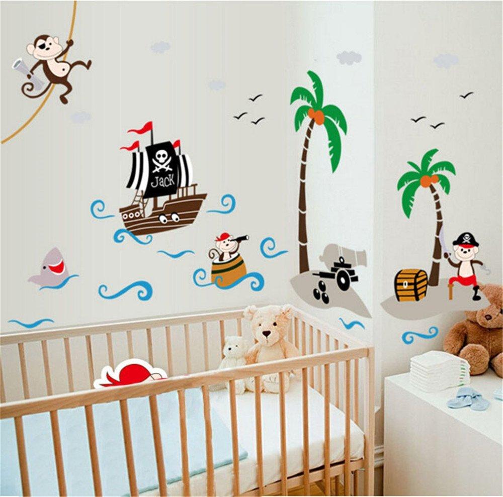 ufengke Nave Pirata Cartone Animato Scimmia Pirata Isola di Cocco Adesivi Murali, Camera dei Bambini Vivai Adesivi da Parete Removibili/Stickers Murali/Decorazione Murale Ufingo UF-WL1297