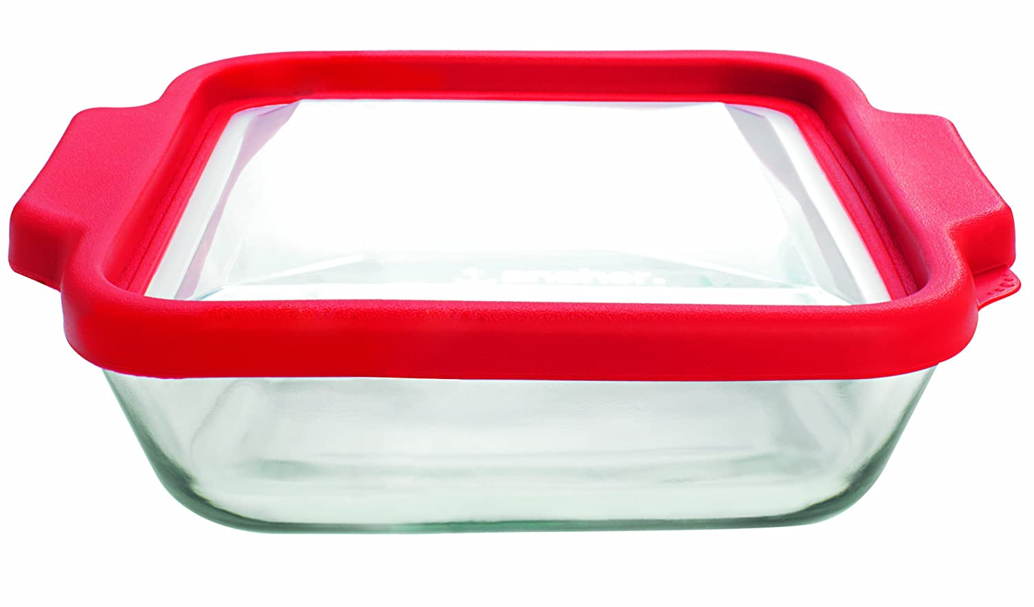Anchor Hocking 8-InchSquare Glass Baking Dish with Cherry TrueFit Lid