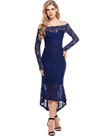 Angvns Womens Dark Blue Lace Dress Fashionable Ball Gown Dress Dark Blue X Large