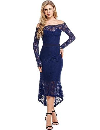 2345e307db8 Unibelle Women s Blue Lace Dresses Long Sleeve Boat Neck Cocktail Mermaid  Dress