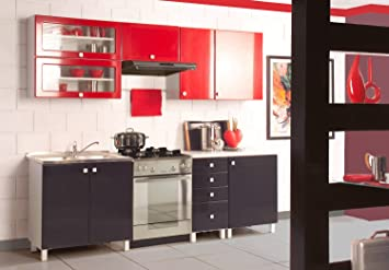 Retro Küche retro küche küchenzeile rot schwarz einbauküche 70ger jahre küche