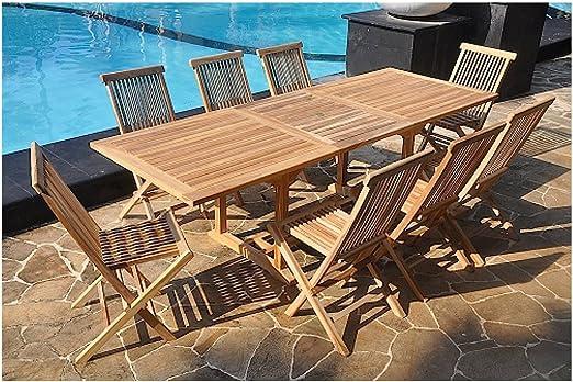 Mon Usine Discount Le Sorong : Salon DE Jardin en Teck Massif : 10-12  Personnes Table rectangulaire et 8 chaises