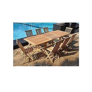 Le Sorong : SALON DE JARDIN EN TECK MASSIF : 10-12 PERSONNES table  rectangulaire et 8 chaises