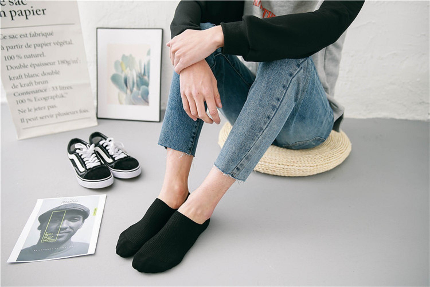 Women\'s Low Ankle Casual Socks No Show Breathable Socks 5-6 Pairs Comfortable Cotton Socks(Stripe 6)