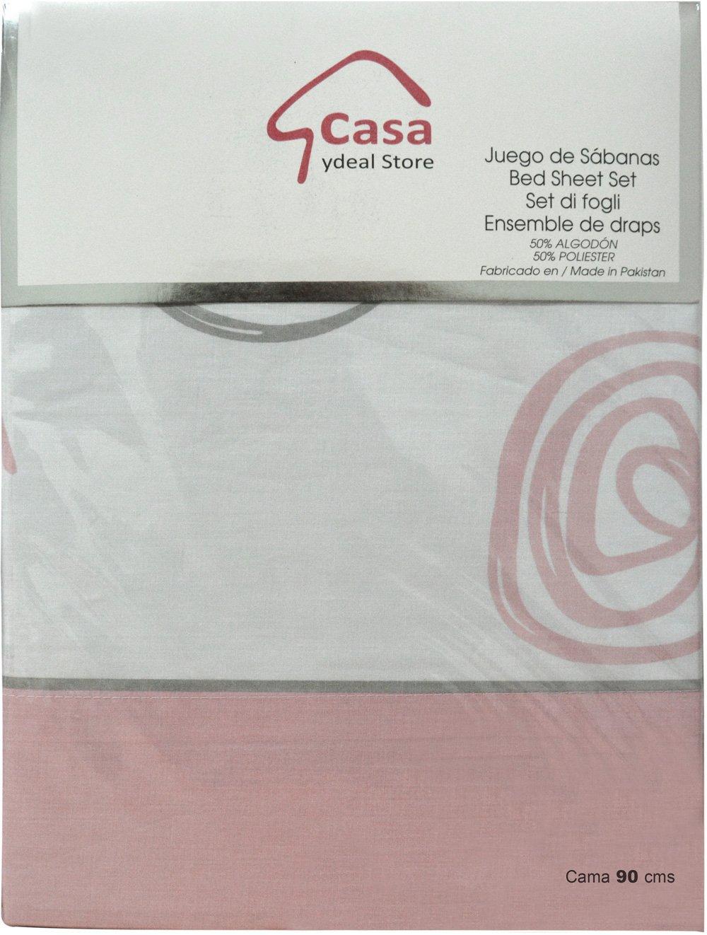 Casa Ydeal Store Juego de Sábanas Espirales 50% algodón 50% poliéster (90cm, Beige): Amazon.es: Hogar