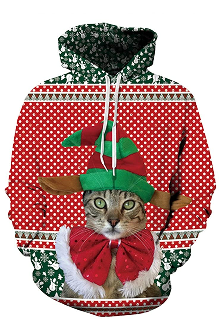 739ad1f2e810 Pink Queen Unisex Christmas Cats Dog Wolf Lion Print Kangaroo Pocket Xmas Hooded  Sweatshirt Pullover Hoodies at Amazon Women s Clothing store
