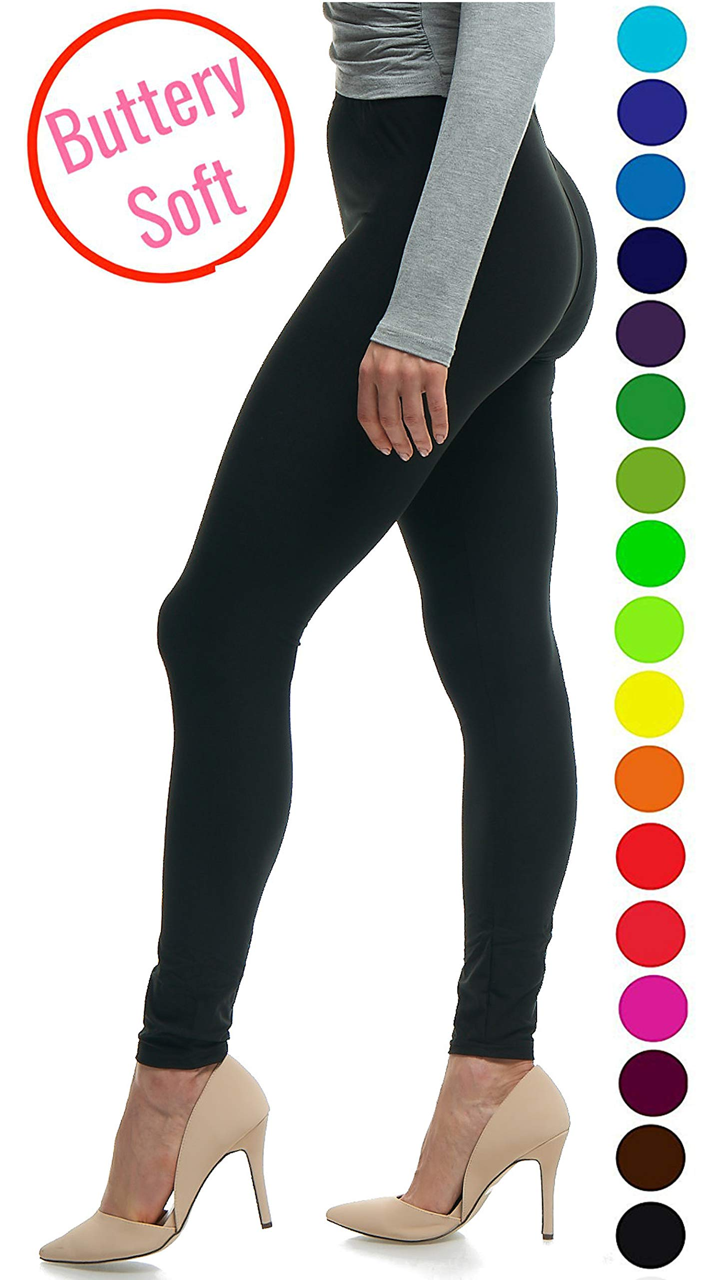 Lush Moda Black Buttery Soft Leggings - Variety of Colors - Black, One Size
