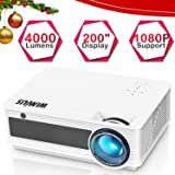 "Projector, WiMiUS Upgraded P18 4000 Lumens Full HD LED Projector Support 1080P 200"" Display 50,000H LED Works with Fire TV Stick Roku iPhone Laptop via HDMI USB AV VGA for Home Theater White"