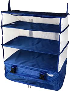 Stow-N-Go Portable Luggage System Suitcase Organizer - Large, BLUE Packable Hanging Travel Shelves & Packing Cube Organizer