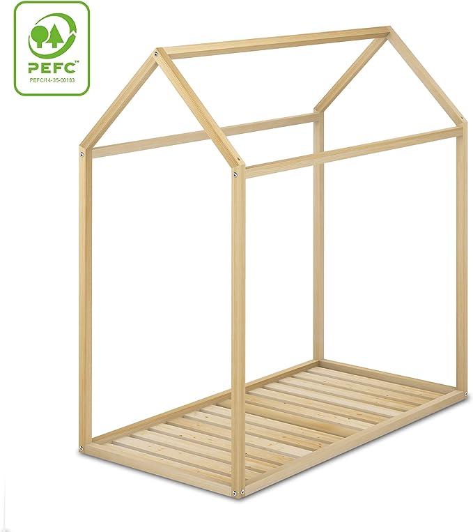 Cama Infantil Tipo Montessori, Casita Madera Natural para niño y niña, 70 x140: Amazon.es: Hogar