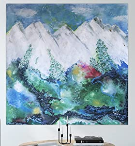 """DebDragonfly Studio Mountain Tapestry (50"""" x 50"""") – Mountain Decor Tapestry for Bedroom or Living Room - Forest Tapestry Wall Hanging – Cute Nature Tapestry Wall Décor for Bedroom & Living Room"""