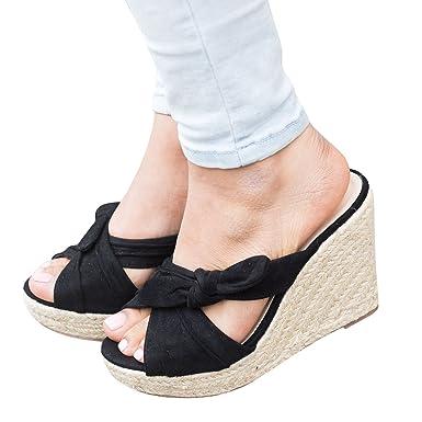 66f70278f00b Amazon.com  Fashare Womens Espadrille Wedge Heel Slide Sandals Tie Knot  Peep Toe Slip on Shoes  Clothing