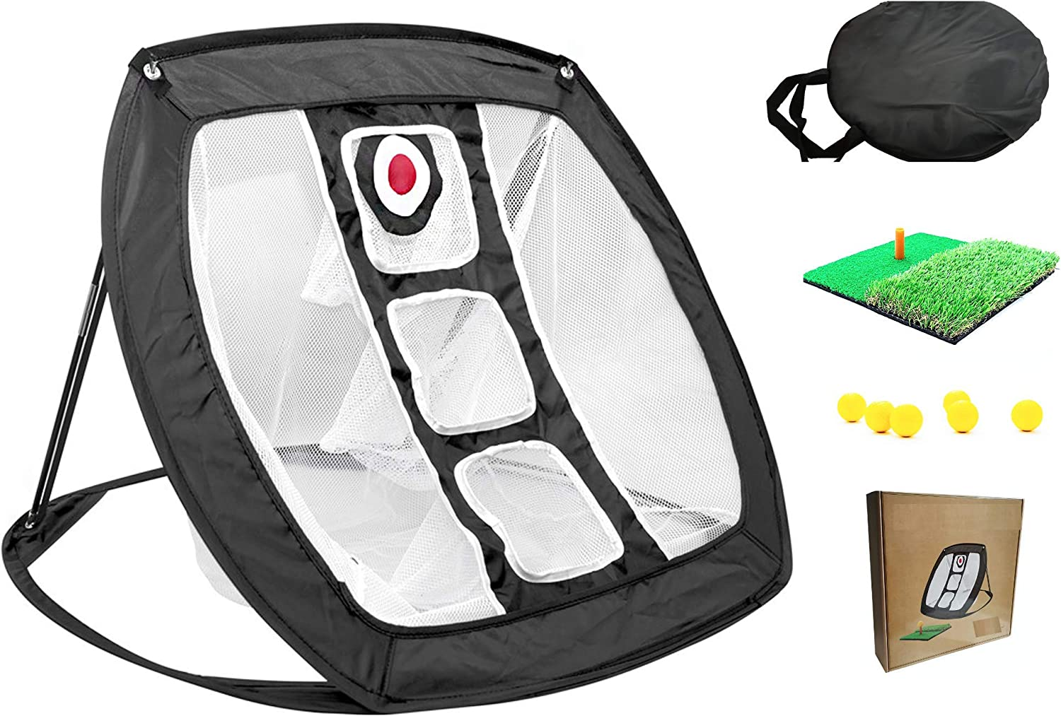 Pop-Open Golf Chipping net Trainer with Target for in & Outdoor use. Great for Beginners to pros at Home, The Backyard & Office for Birthdays, Christmas, Fathers/Bachelor Parties & Games