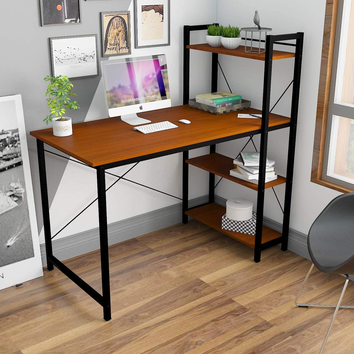 Hironpal Computer Desk Study Table Workstation Pc Laptop Desk Table With 4 Tier Shelves For Storage Home Office Desk Study Wring Desk Gaming Table Furniture Sets For Living Room Bedroom Home
