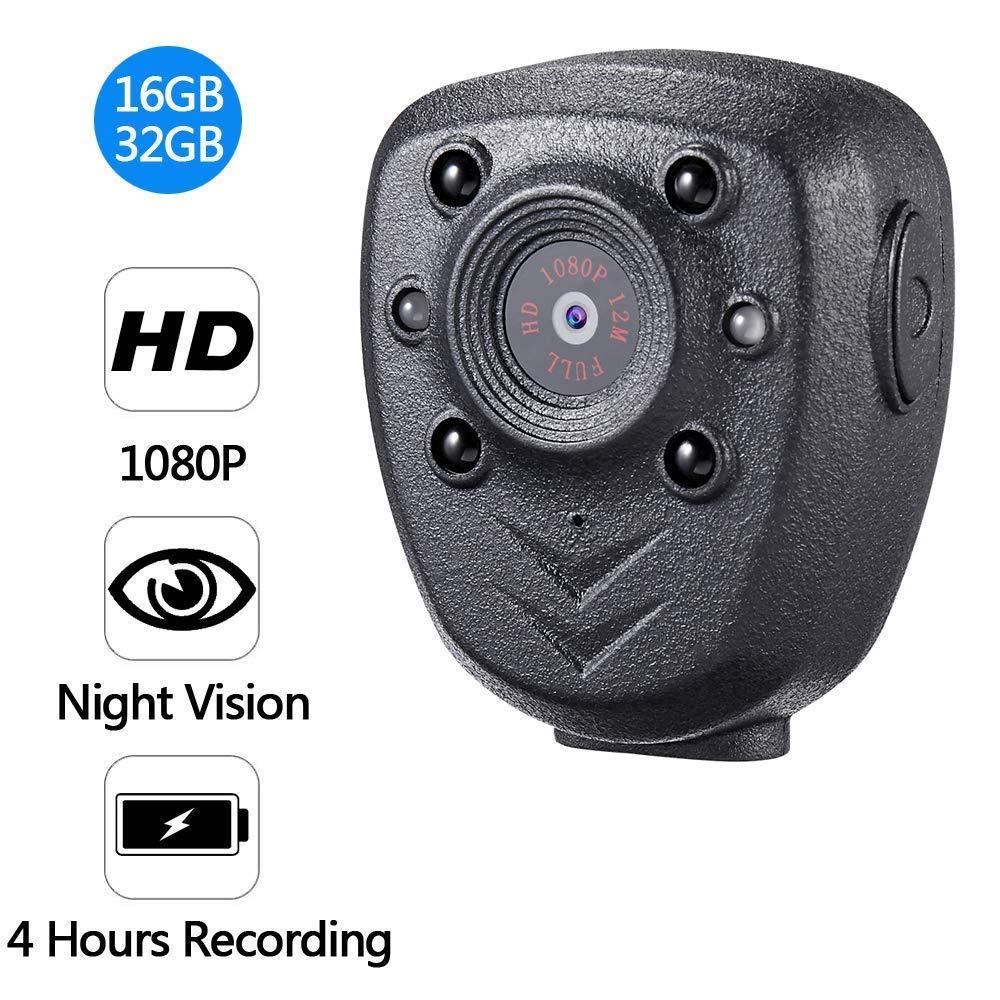 Negro Mini c/ámara de acci/ón inal/ámbrica con Clip Full HD 1080P visi/ón Nocturna infrarroja 16 GB 32 GB 5.00V c/ámara port/átil para Deporte equitaci/ón