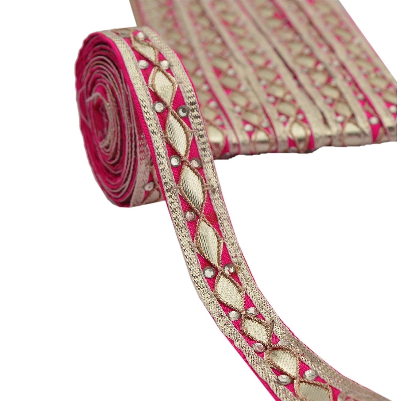 BridalMary Hand Beaded Trim Lace Sewing Craft 1 Yard Border Dress Decor Gota Patti Pink Sanskriti NL-506