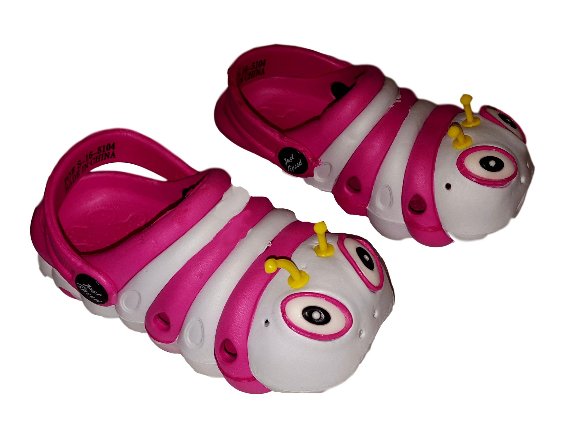 Caterpillar Bug Clogs for Infant or Toddler Boys and Girls Unisex Sandal (8M, White - Fuschia)
