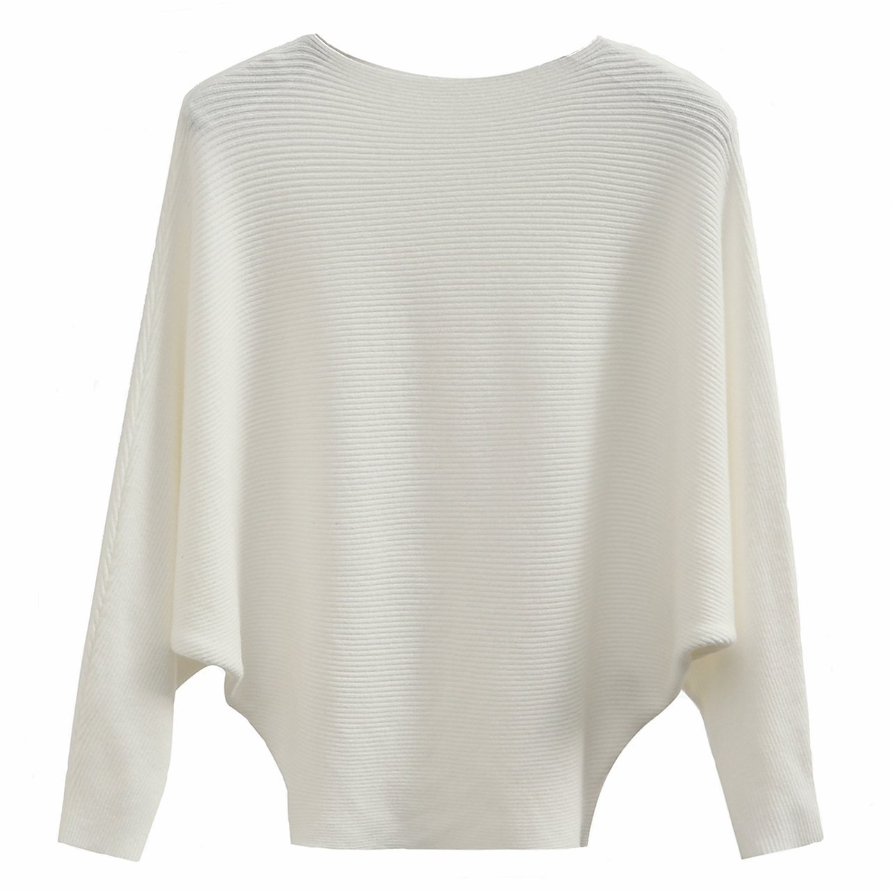 GABERLY Boat Neck Batwing Sleeves Dolman Knitted Sweaters and Pullovers Tops for Women (White, One Size) by GABERLY