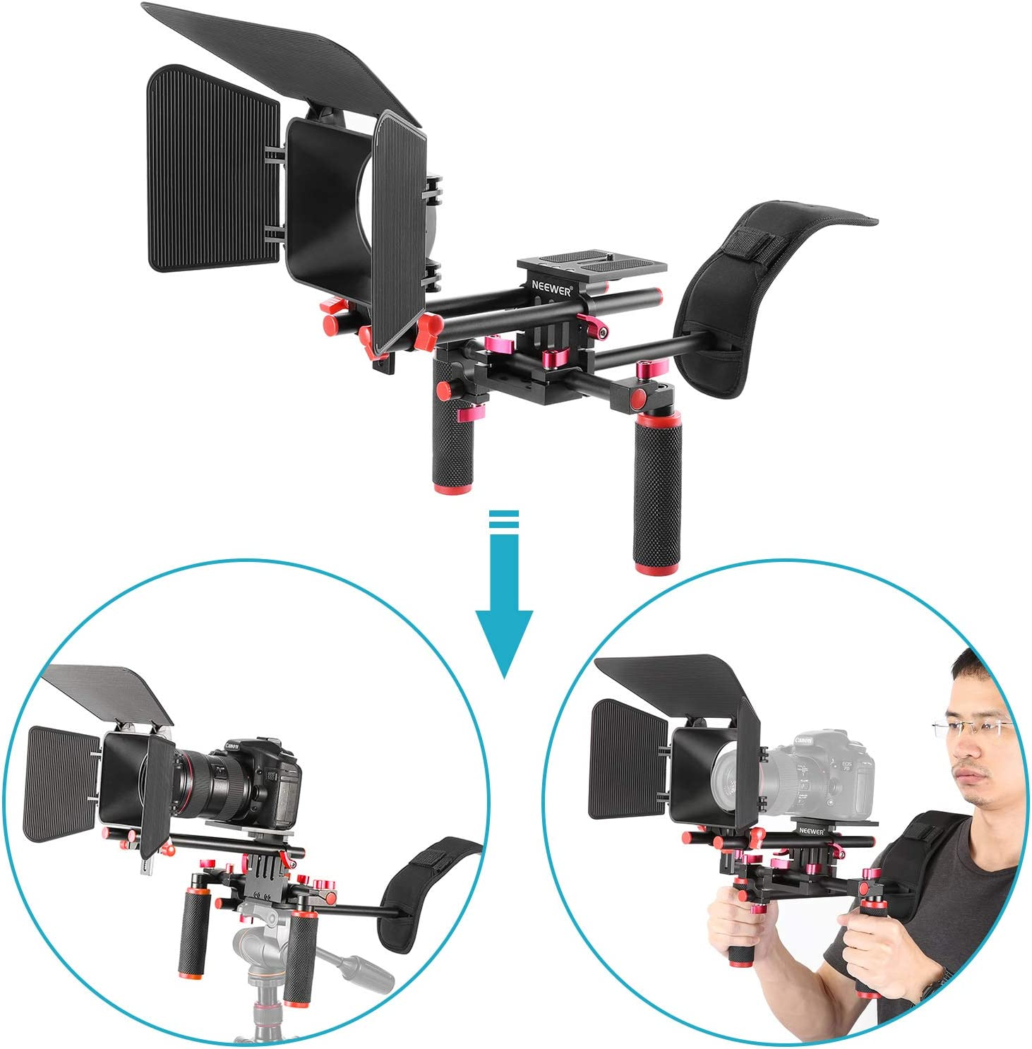 C-shaped Bracket,Handle Grip,15mm Rod,Matte Box,Follow Focus,Shoulder Rig Neewer Film Movie Video Making System Kit for Canon Nikon Sony and Other DSLR Cameras Video Camcorders Blue+Black includes