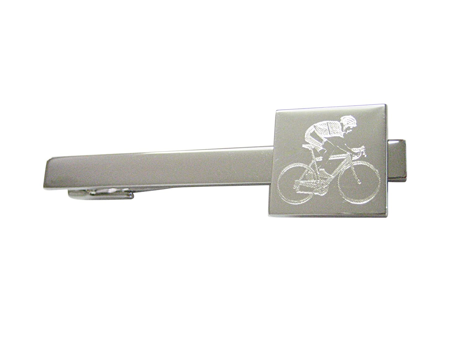 Silver Toned Etched Bicyclist Square Tie Clip