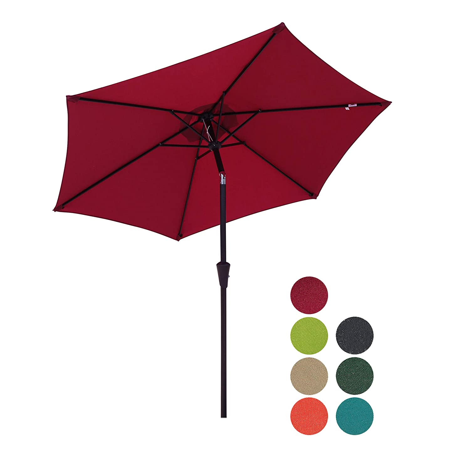 Patiorama 7.5 Feet Outdoor Patio Umbrella with Push-Button Tilt and Crank, 6 Ribs, Polyester Canopy, Burgundy
