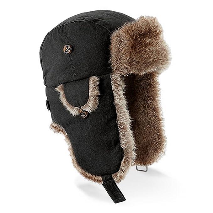 8681d3d55c704 Beechfield Unisex Urban Winter Trapper Hat With Faux Fur Trim (SM) (Black)