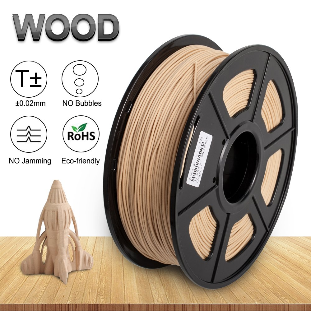 Real Wood 3D Print Filament,1.75 mm PLA Wood Filament,Dimensional Accuracy +/- 0.02 mm,1KG Spool(2.2lbs) - Enotepad Non-Block Filament (Wood)