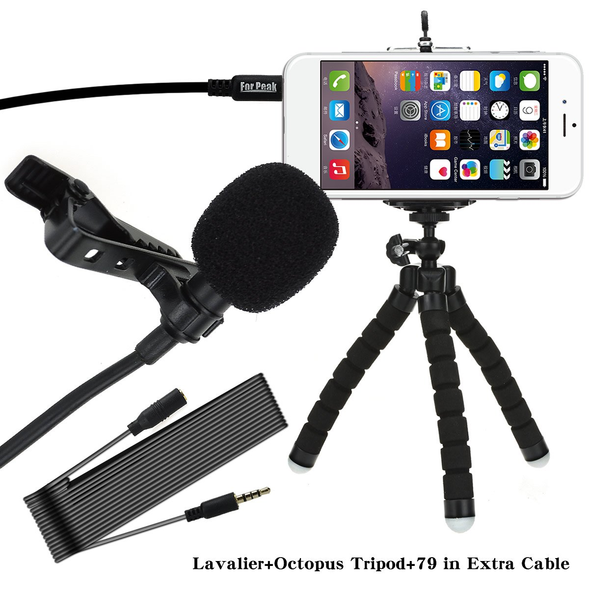 Lavalier Lapel Microphone Clip On Omnidirectional Condenser Mic with Flexible Aluminum Phone Tripod For Apple iPhone Android Samsung and Smartphones