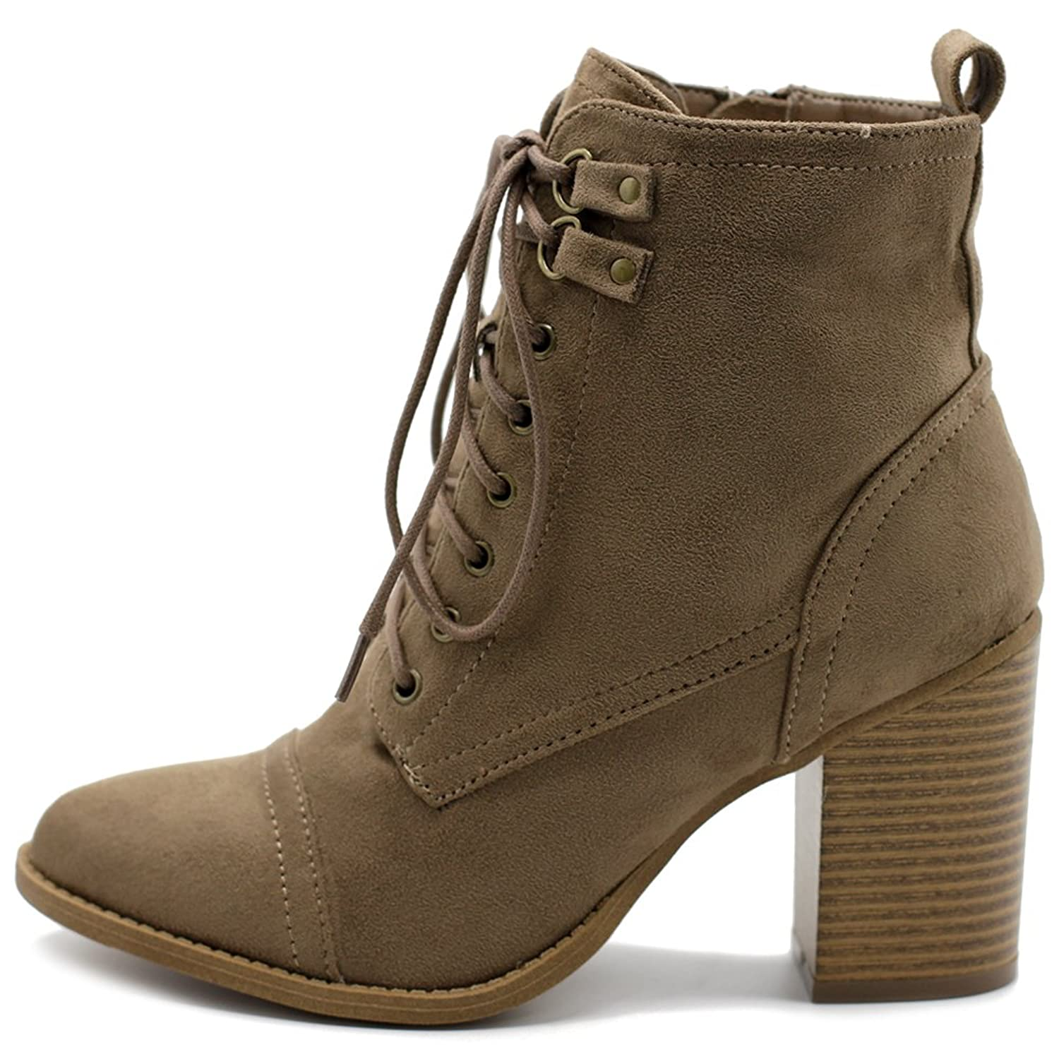 Ollio Women's Shoe Faux Suede Lace Up Stacked High Heel Ankle Boots SSB09