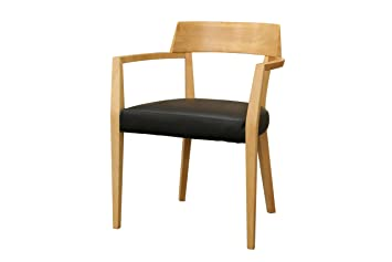 Merveilleux Baxton Studio Laine Modern Dining Chair With Black Seat, Light Wood, Set Of  2