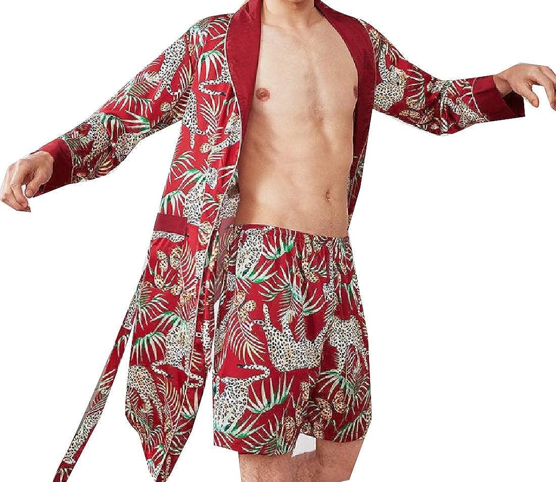 Comaba Men Satin Long Sleeve Charmeuse Spa Bathrobe 2 Piece Set Sleep Robe