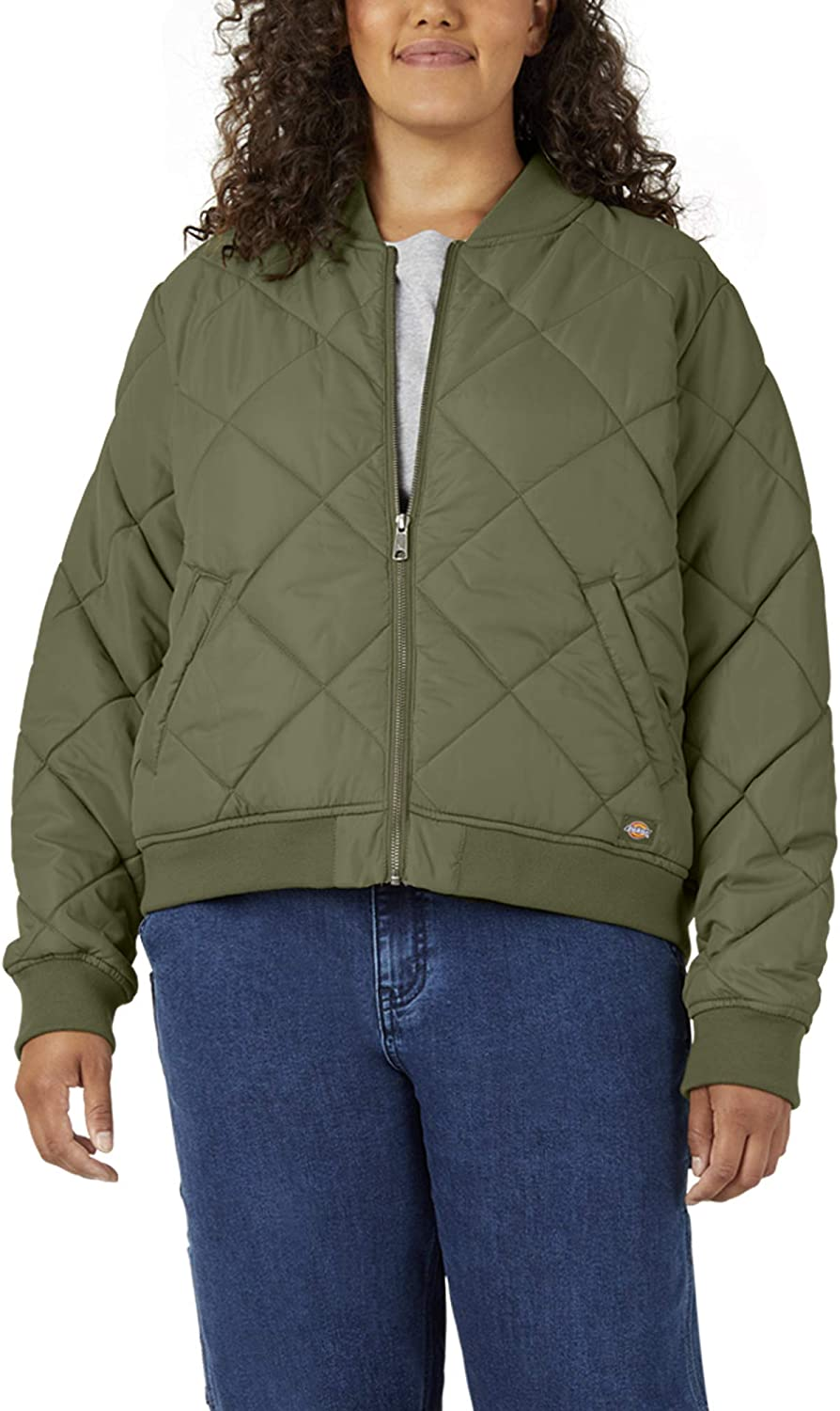 Dickies Womens Plus Size Quilted Bomber Jacket