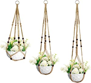 """Macrame Plant Hangers,3pack Plant Hanging Planters Basket,Flower Pots Holder Stand Boho Home Decor,Macrame Plant Hangers Indoor Hanging Planter Basket Flower Pot with Beads Tassels26""""/35""""/41""""(3sizes)"""
