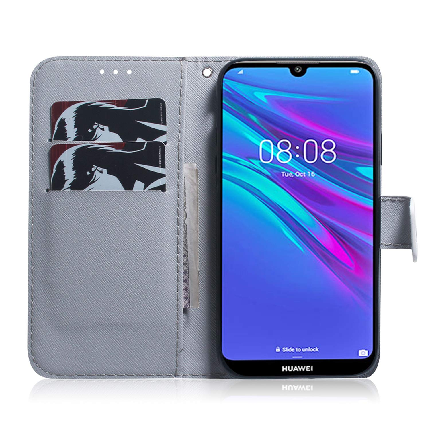 Honor 8A Lomogo Leather Wallet Case with Kickstand Card Holder Shockproof Flip Case Cover for Huawei Y6 2019//Y6 Pro 2019 Y6Pro 2019 Case Huawei Y6 2019 LOTXI140294#4