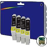 4 Cartouches d'encre Compatibles pour Imprimante Epson Stylus SX515W - Noir- Avec Puce