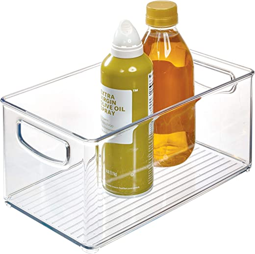 iDesign Plastic Storage Bin with Handles for Kitchen, Fridge, Freezer, Pantry, and Cabinet Organization, BPA-Free, Medium