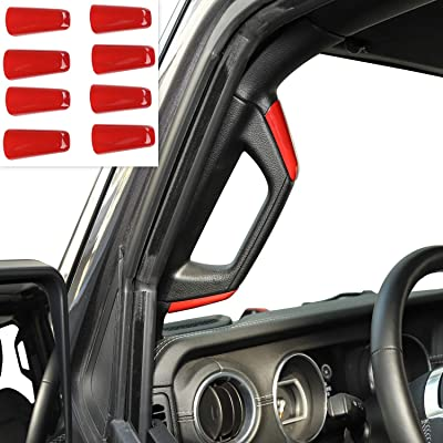 RT-TCZ ABS A&B Pillar Grab Handles Decoration Cover for 2020-2020 Jeep Wrangler JL 4 Door: Automotive