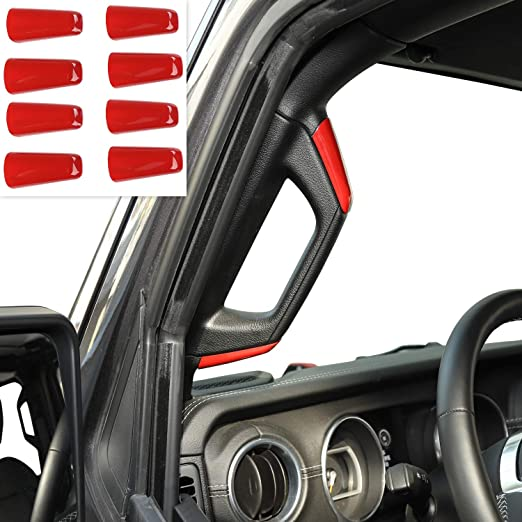 LimitlessParts for 2018-2019 Wrangler JL RED Grab Handle Letters Inserts Handlebar Glovebox ABS Plastic NOT Thin Decals