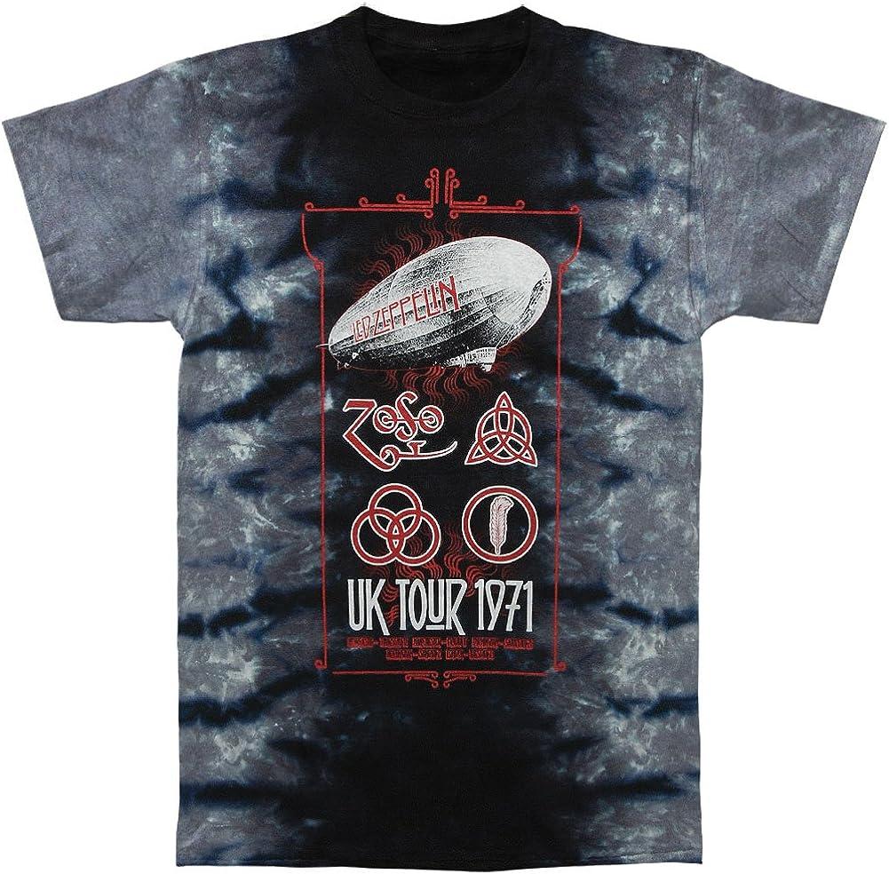 Official licensed-led zeppelin-uk tour 1971 tie dye t shirt rock page plant