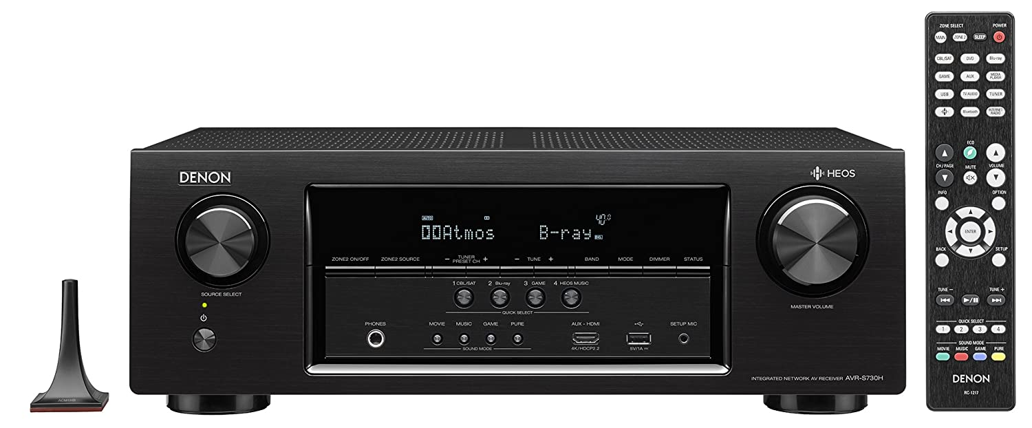 Denon AVRS730H 7.2 Channel AV Receiver With Built-in HEOS Wireless Technology, Works With Alexa