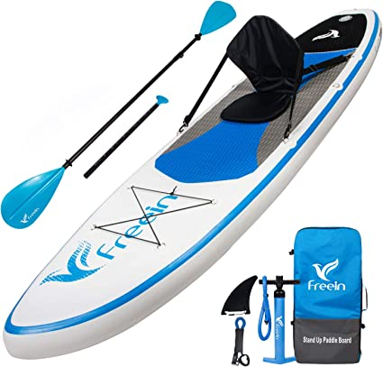 Freein Stand Up Paddle Board Inflatable SUP 10/106 Long with Kayak Conversion Kit,Package∣Kayak seat,Adj 2 in 1 Paddle,Backpack,Leash,Pump