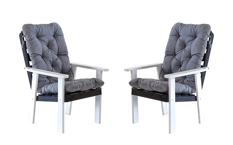 Ambientehome 90389 Gartensessel Gartenstuhl Loungesessel 2-er Set Massivholz Hanko Maxi mit Kissen, weiß / grau