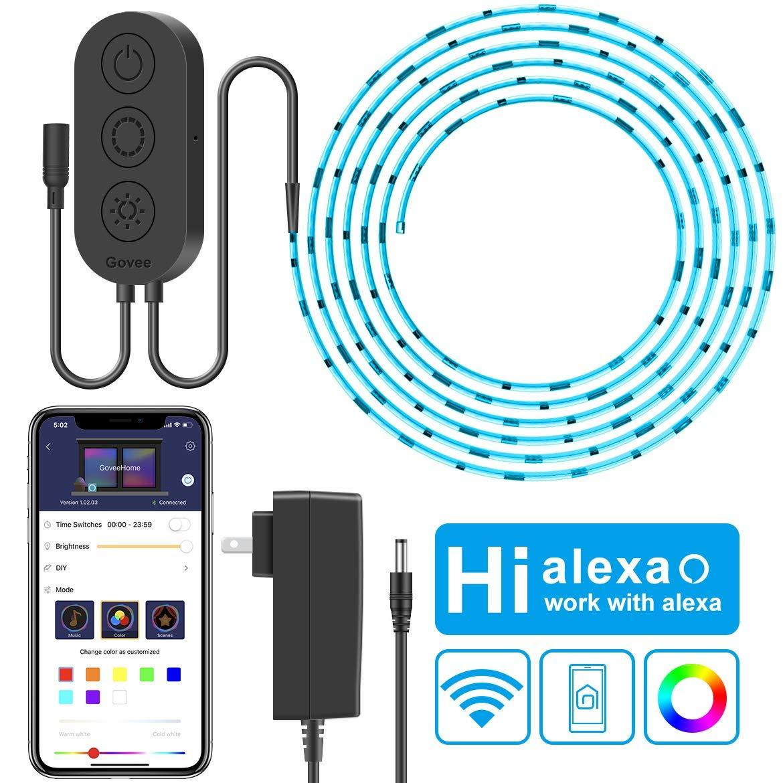 WiFi LED Strip Lights, Govee 16.4ft(5M) Waterproof Wireless Smart Phone App Controlled Light Strip Kit, Amazon Alexa Google Assistance Control RGB Led Strip Lights Music Sync (Not Support 5G WiFi)