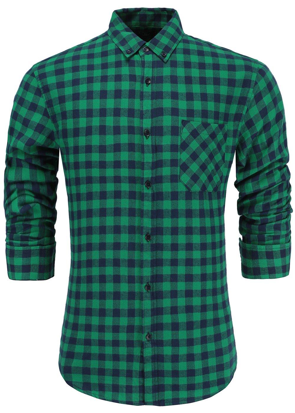Emiqude Men's 100% Cotton Slim Fit Long Sleeve Button-Down Big Plaid Dress Shirt Medium Green Navy