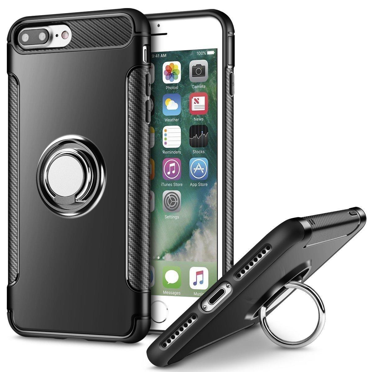 iPhone 7 Plus Handyh/ülle mit Ring Kickstand Mosoris iPhone 8 Plus H/ülle Sto/ßfest Schutzh/ülle Case mit 360 Grad Drehbarer Handyhalterung Geeignet f/ür Auto Magnet Ring f/ür iPhone 8 Plus Blau