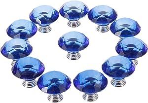12pcs 40mm Diamond Crystal Glass Knob for Closet Cabinet Drawer Kitchen Dresser Cupboard Wardrobe,3 Size Screws,Blue