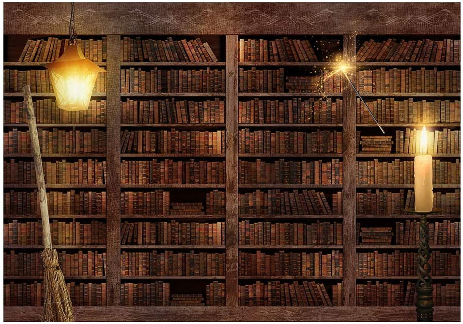 Funnytree 7x5FT Wizard Magic Bookshelf Photography Backdrop for Halloween Bookcase Dress Up Party Decor Ancient Library Background Photo Booth