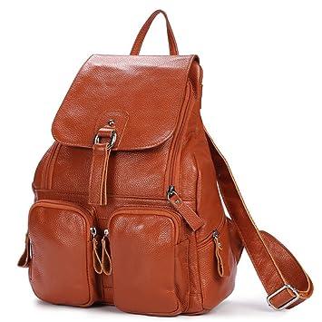 1814085531ec6 DRF Damen Rucksack aus Leder Daypack für Freizeit 28x38x12 cm  BG-120 (Braun